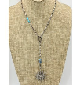"Gildas Gewels 16""Diamond Star, Turq Enamel Necklace"