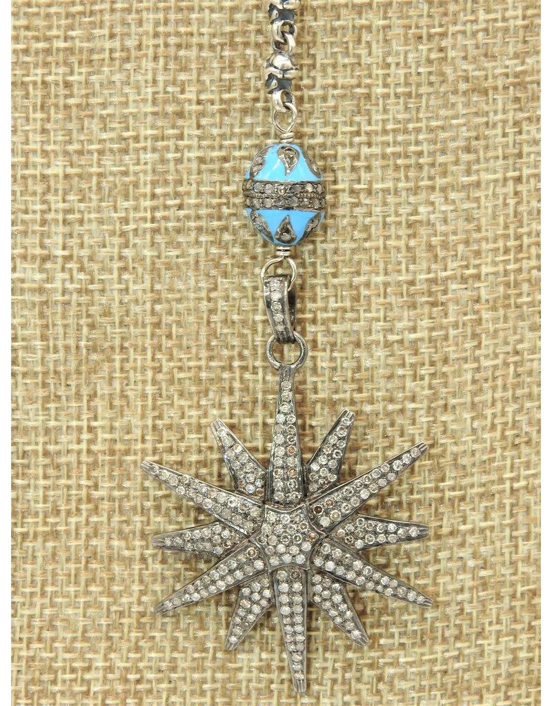 "Gildas Gewels 16""Diamond Star, Turq Enamel Necklace"