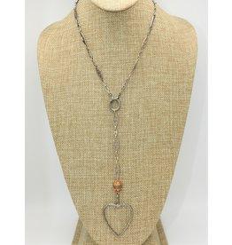 Gildas Gewels Open Diamond Heart, Vintage Chain, Ornge Bead