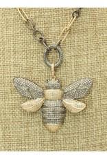 "Gildas Gewels 16"" Large Gold & Silver Diamond Bee, Vntg Chain"