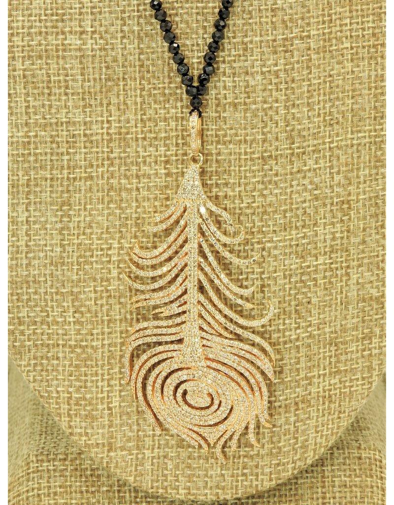"Gildas Gewels 30"" 14k Gold Diamond Feather, Black Jet Beads Necklace"