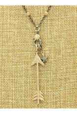 "Gildas Gewels 16"" Gold Diamond Arrow, Vintage Chain Necklace"