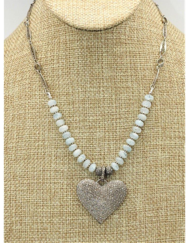 Gildas Gewels Diamond Heart w/aquamarine beads, vntg chain necklace
