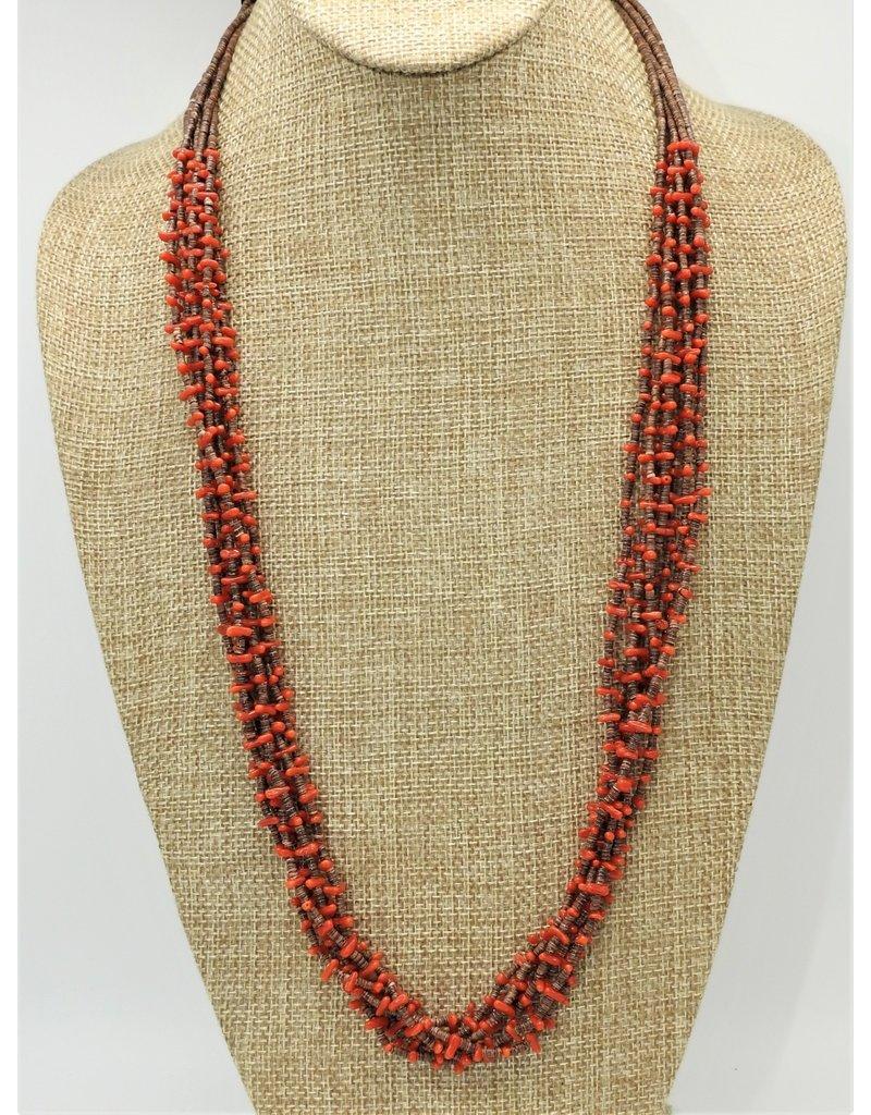 Karina 7 Strand Mediterranean Coral & Heishi Necklace