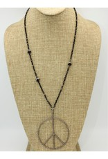 "Gildas Gewels 28"" Black Beads w/ Diamond Peace Pendant"