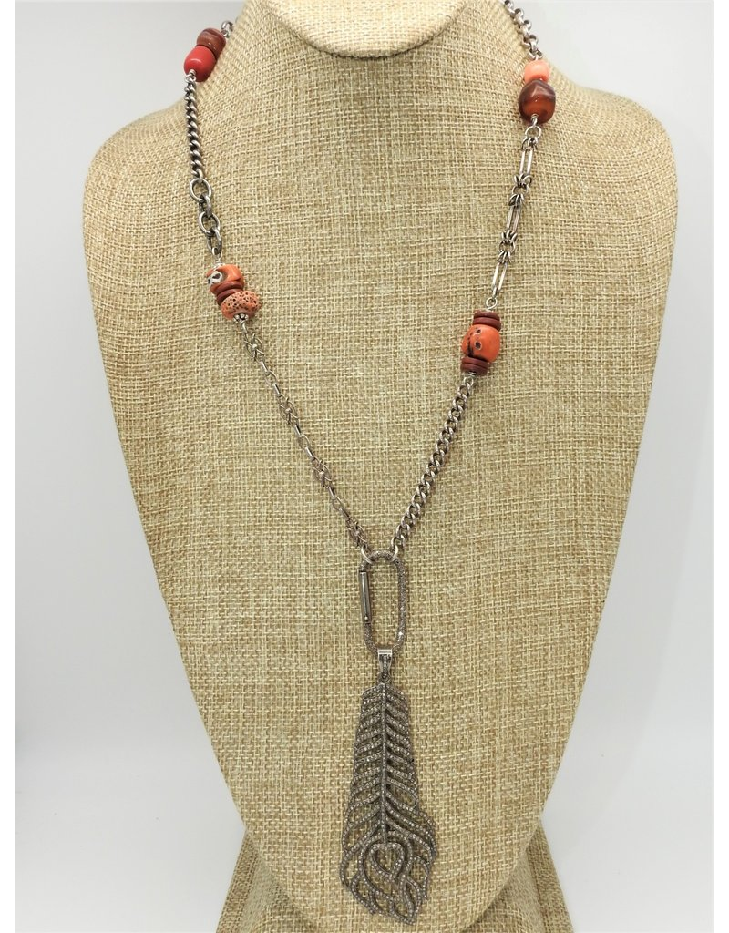 Gildas Gewels Vntg. Necklace w/ Diam. Feather
