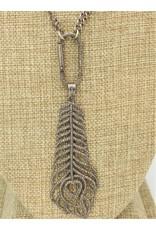 Gildas Gewels XGB-N916C Vntg. Necklace w/ Diam. Feather