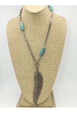 Gildas Gewels Diamond Feather, African Beads, Vntg chain Necklace