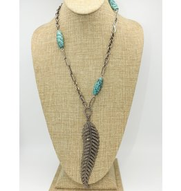 Gildas Gewels N1072C Diam. Feather w/ African Beads Necklace