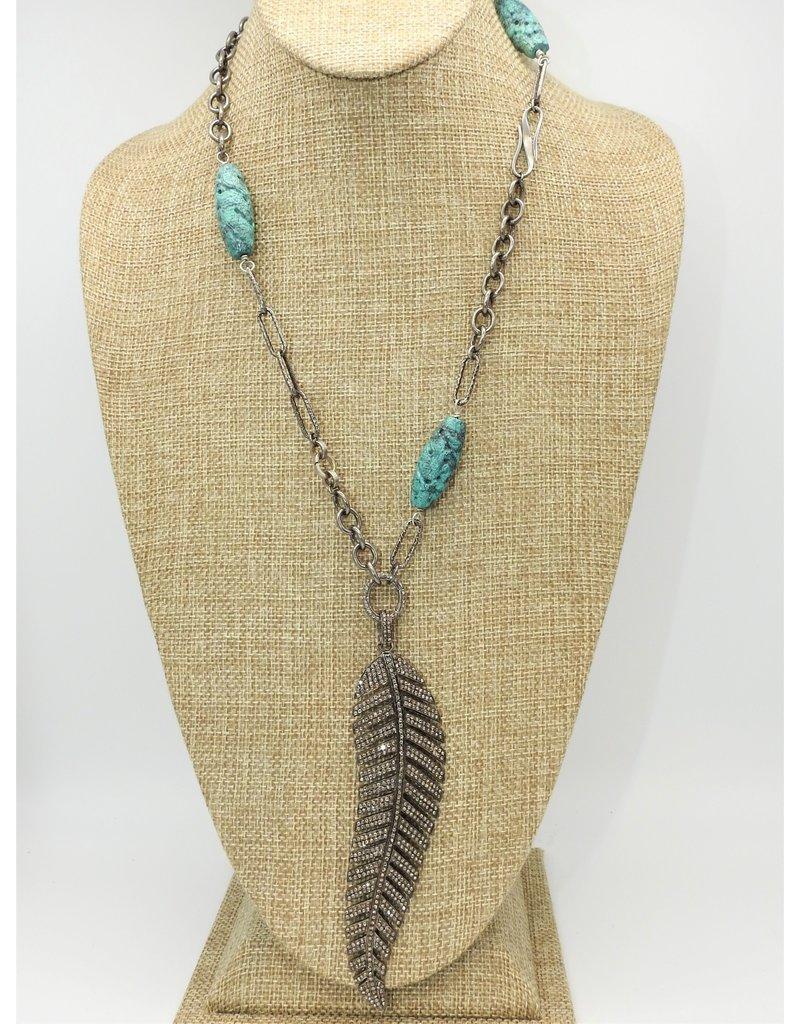 Gildas Gewels N1072C Diam. Feather w/ African Beads Necklace
