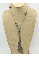 Gildas Gewels GG-N1019C Dia. Feather, African Beads necklace