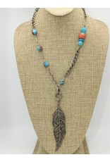 Gildas Gewels N1000C Diam Feather w/ African Bead Necklace