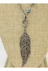 Gildas Gewels N1000C Diam Feather w/ African Bead Necklace