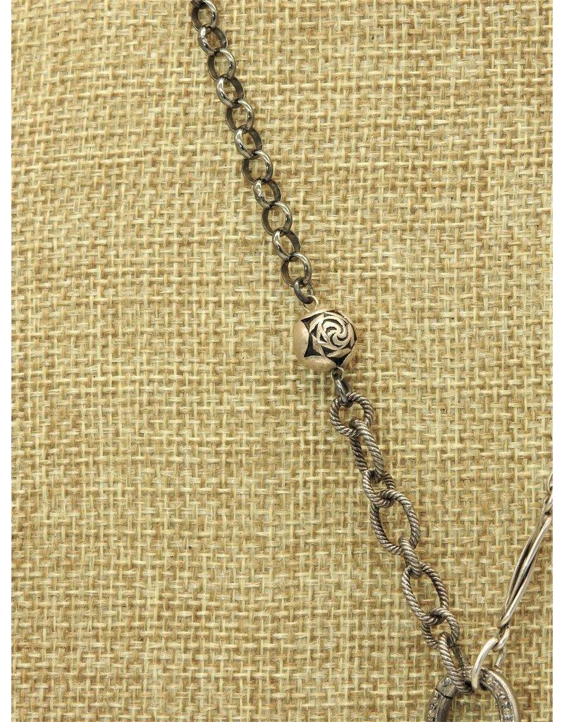 Gildas Gewels N1005C Tri-Carved Pearls, Vintage Chain