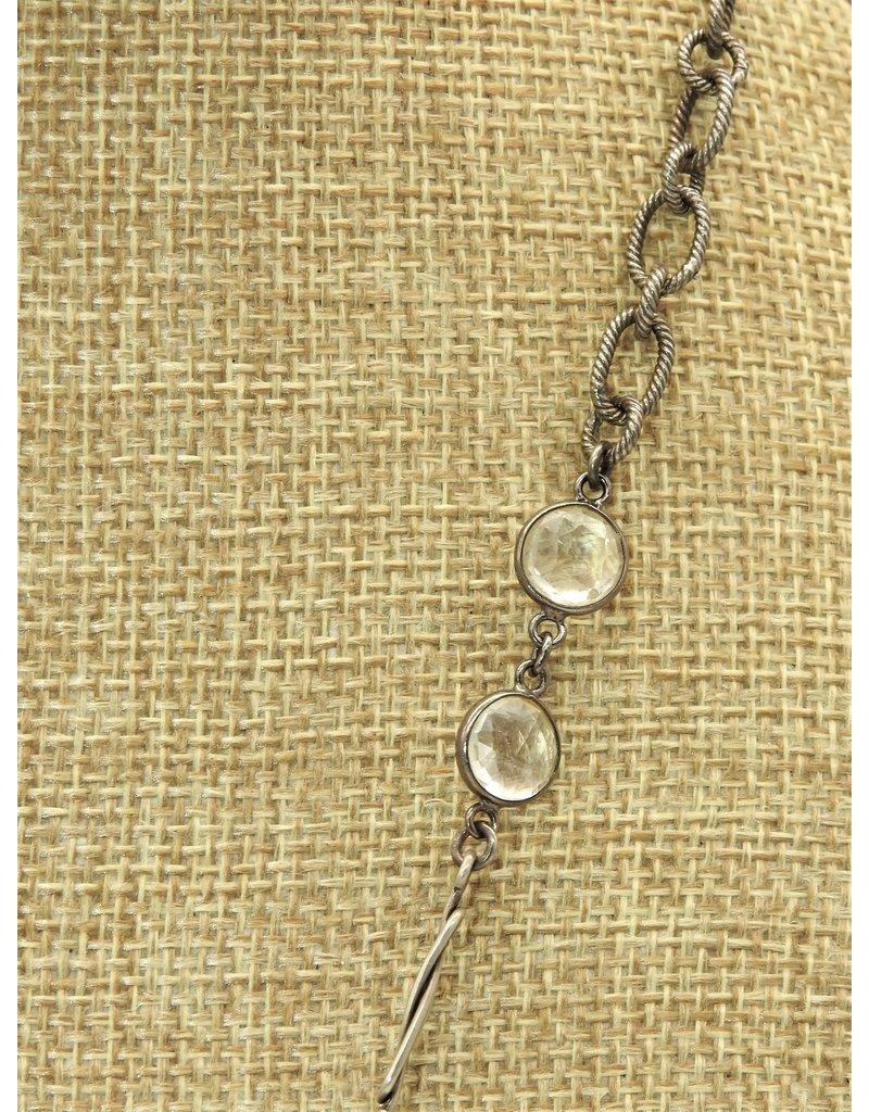 "Gildas Gewels 28"" Tri-Carved Pearls, Vintage Chain Necklace"