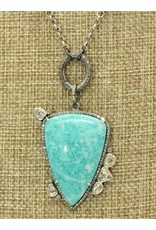 "Gildas Gewels N1254C Amazonite, Diamonds, 16"" Vintage Chain"