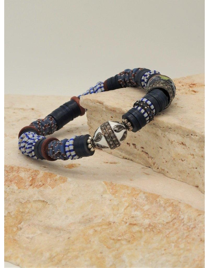 Gildas Gewels GG-1288C Blue & Wht Enamel w/Diamonds Bracelet