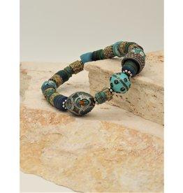 Gildas Gewels Turquoise Enamel & Diamond Bead Bracelet