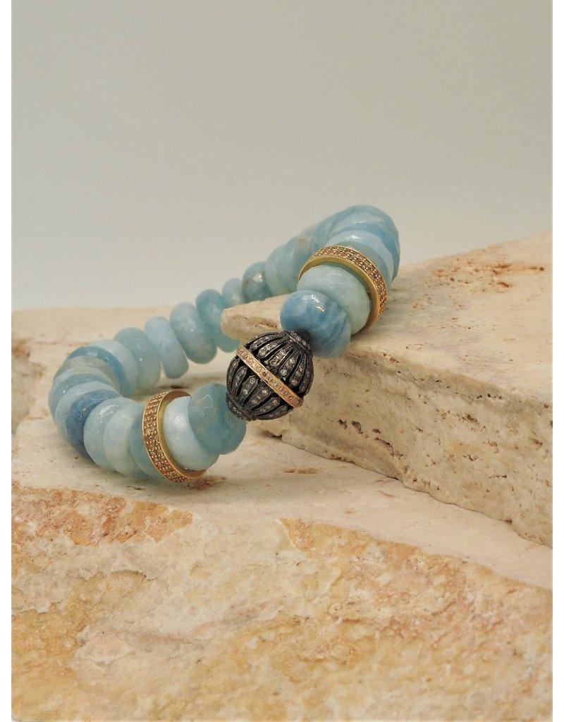 Gildas Gewels Faceted Aquamarine, Diam Gold Disc & Ball Stretch Bracelet
