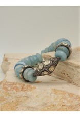 Gildas Gewels Faceted Aquamarine & Diam Bead Stretch Bracelet