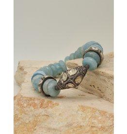 Gildas Gewels Faceted Aquamarine & Diam Bead Stretch Bracelet