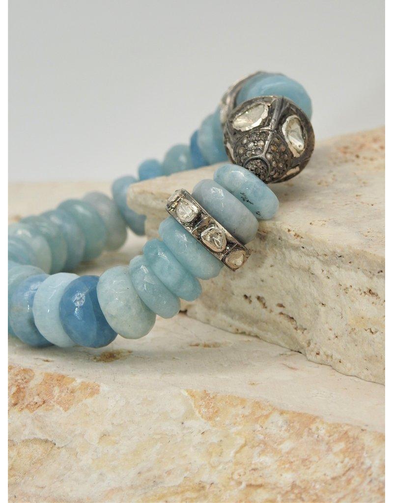 Gildas Gewels B1227C Faceted Aquamarine & Diam Bead Bracelet