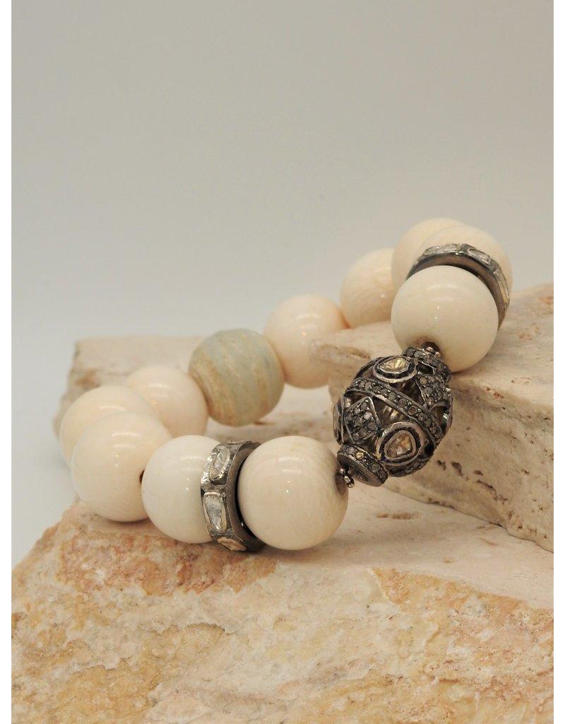 Gildas Gewels Mammoth Ivory & Diamond Bead Stretch Bracelet