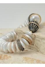 Gildas Gewels Peals, Gold Diamond Disc's & Ball Stretch Bracelet