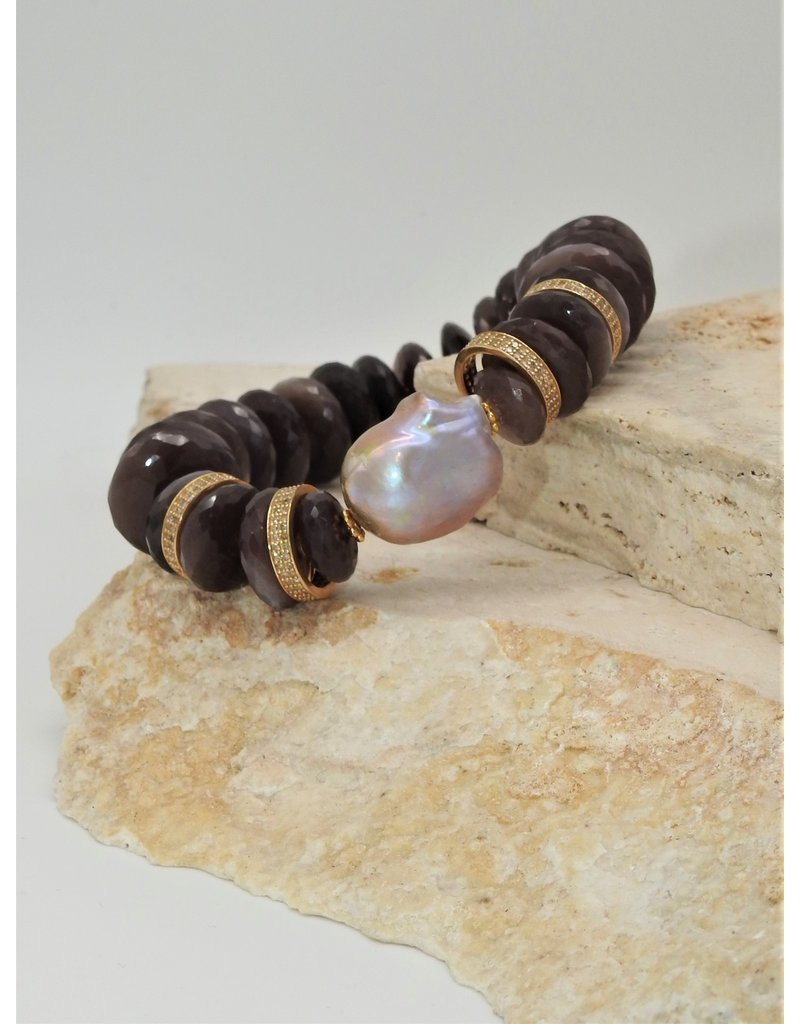 Gildas Gewels B1231-C Choc.Moonstone/Diam Pave Beads
