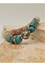 Gildas Gewels Turquoise, Diamond Beads & Clam Shell Stretch Bracelet