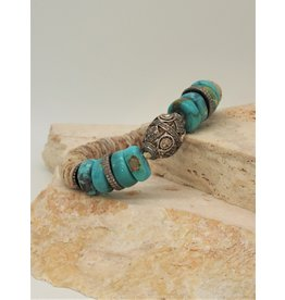 Gildas Gewels Turquoise, Diamond Beads & Heshi Stretch Bracelet