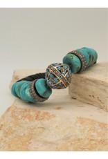 Gildas Gewels Turquoise & Diamond Beads Stretch Bracelet