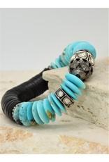 Gildas Gewels Kingman Turquoise & Diamond Beads Stretch Bracelet