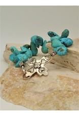 Pam Springall Bright Blue Turquoise Petals w/Cross Clasp Bracelet