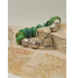 Pam Springall Fat Green Turquoise Rondelles w/SS Clasp Bracelet