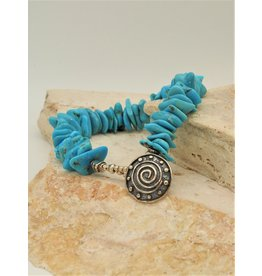 Pam Springall Bright Blue Turquoise Nuggets w/SS Clasp Bracelet