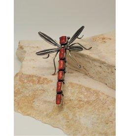 Bug Man Coral Dragonfly Pin/Pendant