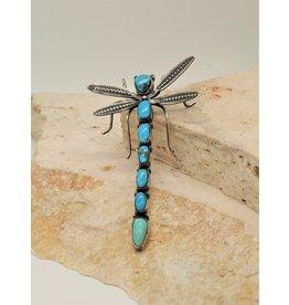 Bug Man HR-P Kingman Turq. Dragonfly Pin/Pendant