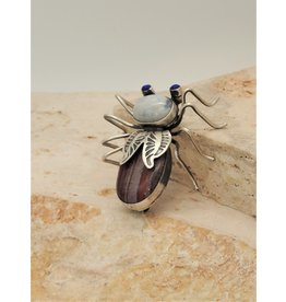 Bug Man Moonstone, Jaspar & Lapis Bug Pin