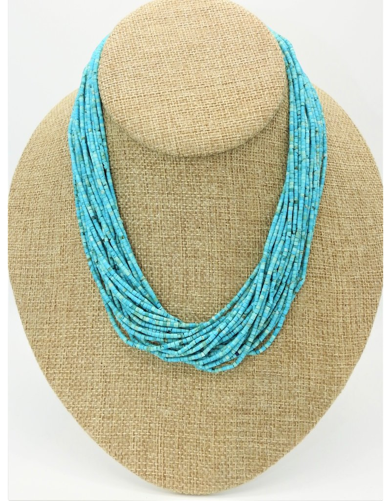 Pam Springall 24 Strand Persian Turquoise Necklace