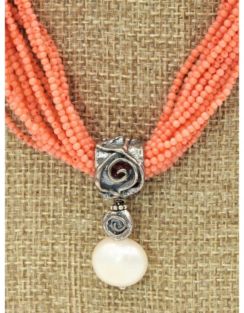 Pam Springall 17 Strand 2mm Angl Skin Coral w/ Pearl Pendant