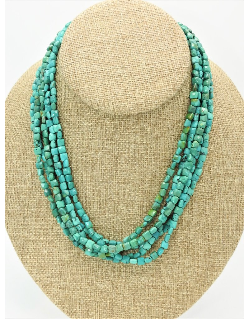 Pam Springall PS-N49C 5 Strand Tiny Facetd Turquoise Squares