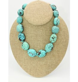 Pam Springall Big Turquoise  Natural Ovals Necklace