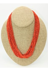 Pam Springall 15 Strand Red Mediterranean Coral Necklace
