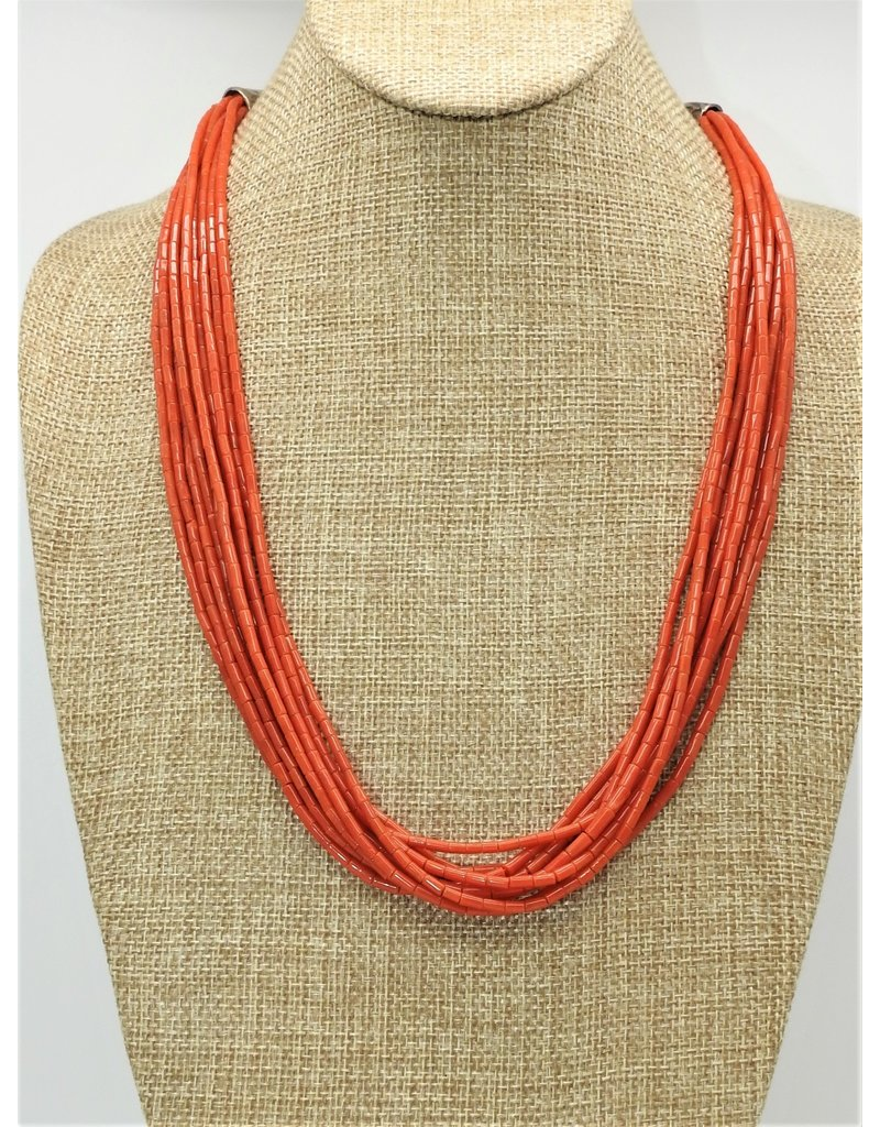 Pam Springall 10 Strand Red Coral Tubes, SS Clasp Necklace