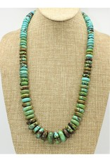 Pam Springall Long Graduated Turquoise Rondells Necklace