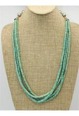 Pam Springall 4 Strand Campitos Turq. & Turq. Crosses Necklace