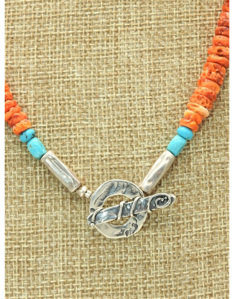 Pam Springall PS-N242C Orng Spiny Oyster & Turq. Necklace