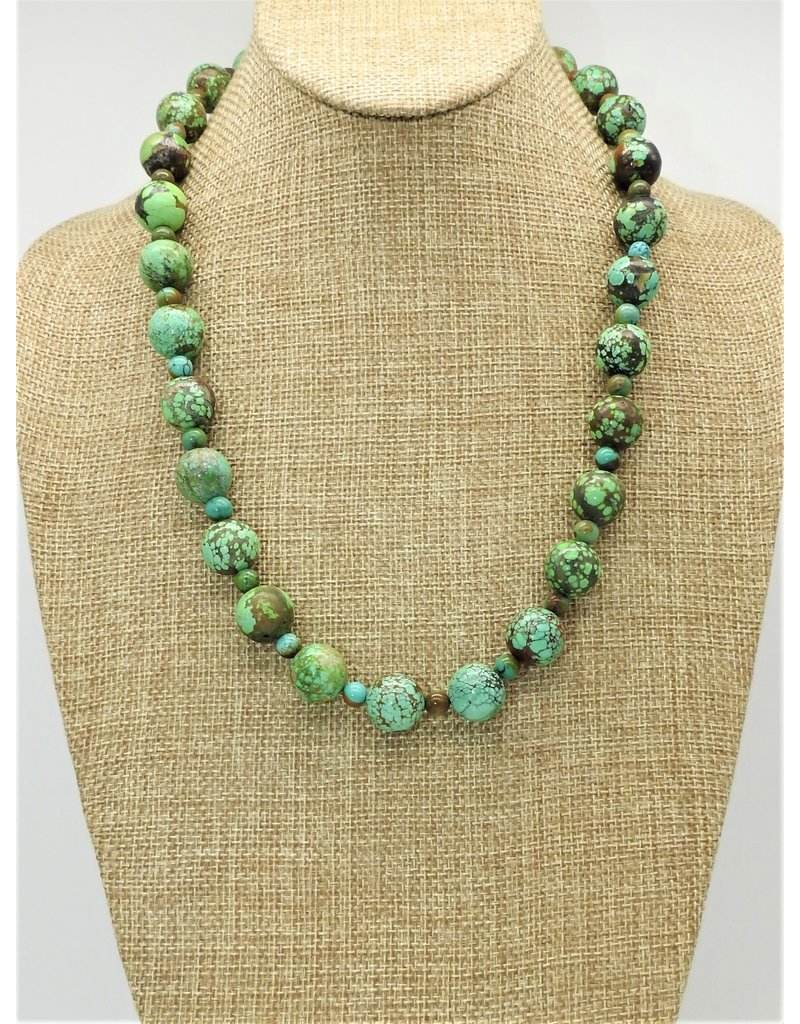 Pam Springall Natural Green Spiderweb Turquoise Rounds Necklace
