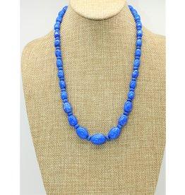 Pam Springall Graduated Lapis Barrels & Rondells Necklace